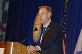 Patrick Shanahan, deputy secretary of defense, describes the ramifications of the new National Defense Strategy during his opening keynote address at West 2018.
