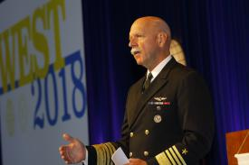 Adm. Scott H. Swift, USN, commander of the U.S. Pacific Fleet, discusses the broad challenge posed by China during his keynote luncheon address.