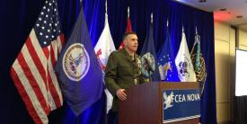 Maj. Gen. Dennis A. Crall, USMC, deputy principal cyber advisor and senior military advisor for cyber policy, describes the Defense Department's cyber organizational activities at an AFCEA NOVA Chapter luncheon on January 9.