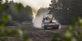 M1A2 Abrams tanks take part in a May 2019 exercise in Poland. U.S. Army officials plan a massive exercise, Defender-Europe early next year. It will be the largest of its kind in 25 years.  Photo Credit: Sgt. Thomas Mort