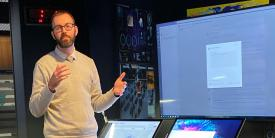Joel Day, account technology strategist, demonstrates analysis collaboration using a custom Microsoft Teams application. (Photo courtesy of Microsoft Corporation)
