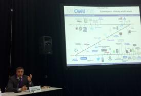 Giorgio Bertoli displays a rather recent history of the Internet during a panel discussion at MILCOM 2016.