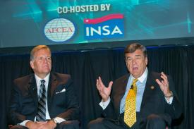 Rep. Mike Rogers (R-MI), chairman of the House Permanent Select Committee on Intelligence (l), and Rep. Dutch Ruppersberger (D-MD), ranking member of the committee, discuss intelligence oversight issues at the AFCEA/INSA Intelligence and National Security Summit 2014.