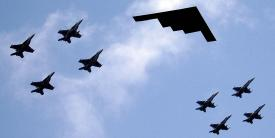 A B-2 stealth bomber leads an aerial flight formation during a major exercise in the Philippine Sea. Attacks on the U.S. critical infrastructure could impact the Defense Department's ability to effectively perform its national defense mission, but high-ranking officials in the Pentagon are developing a Defense Critical Infrastructure Intelligence Network to maintain a common operating picture during crises.