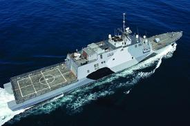 The littoral combat ship USS Freedom conducts sea trials off the coast of Southern California. Depending on the mission package, the littoral combat ship will host an array of unmanned vehicles.