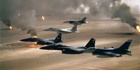 U.S. Air Force aircraft of the 4th Fighter Wing fly over Kuwaiti oil fires set by the retreating Iraqi army during Operation Desert Storm in 1991. NATO air power has not been challenged in recent conflicts, but with resources and capabilities dwindling, NATO officials are sounding warning bells about the future.