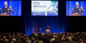 CNO Adm. Jonathan Greenert, USN, speaks at the Naval Future Force Science and Technology Expo in Washington, D.C. on February 4.