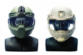 These illustrations show a Conformal Integrated Protective HEadgeaR (CIPHER) helmet prototype (l) and an INTEgRated Conformal Protective helmeT (INTERCPT) prototype.