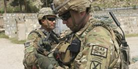 A U.S. Army captain uses a Nett Warrior end-user device in Afghanistan. A new approach to network training aims to teach soldiers what they need to know at their home station before deployment.