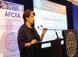 Claude-France Arnould, chief executive of the European Defence Agency, gives the opening keynote address at TechNet Europe Paris 2014.