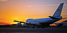 Air Force One departs Maxwell Air Force Base in March. The Air Force eventually will replace the aircraft with 747s—but not until 2023.