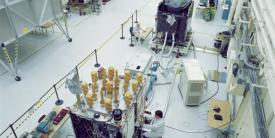 Lockheed Martin engineers work on the GPS IIR satellites for the U.S. Air Force. Lockheed Martin designed and built 21 GPS IIR satellites and subsequently modernized eight of those spacecraft, designated GPS IIR-M, to enhance operations and navigation signal performance.   Courtesy Lockheed Martin