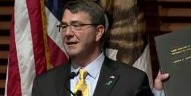 "Defense Secretary Ash Carter delivers a lecture, ""Rewiring the Pentagon: Charting a New Path on Innovation and Cybersecurity,"" at Stanford University in California on Thursday. The lecture highlights the Pentagon's new cyber strategy and innovation initiatives."