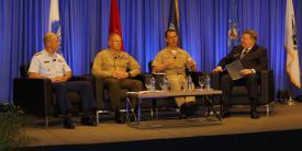 Leaders for all three maritime services—the Navy, Marines and Coast Guard—participate in a town hall forum at West 2019. Photo by Michael Carpenter