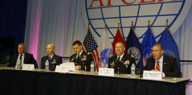 Panelists at the Defensive Cyber Operations Symposium discuss directing change to organize the cyberspace warfighting domain.