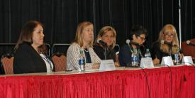 The AFCEA Women's program convened a panel of cyber experts that included (r-l) moderator Col. Laurie Moe Buckhout, USA (Ret.), Corvus Group LLC; Gisele Bennett, Florida Institute of Technology;  DeEtte Gray, CACI International Inc.; Nancy Kreidler, director, cybersecurity and information, assurance, Army CIO/G-6; and Annette Redmond, acting deputy assistant secretary for intelligence policy and coordination, Bureau of Intelligence and Research, Department of State. Photo by Michael Carpenter