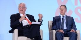 John Hamre (l), president of the Center for Strategic and International Studies, speaks with John Rood, undersecretary of defense for policy, during a panel discussion moderated by Hamre at the 2018 Intelligence and National Security Summit. Photography by Herman Farrer.