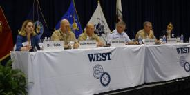 At West 2018, panelists discuss how to prevail in the gray zone (l-r): Kathleen Hicks, International Security Program, Center for Strategic & International Studies; Vice Adm. John D. Alexander, USN; Vice Adm. Michael M. Gilday, USN; Vice Adm. Fred M. Midgette, USCG; Rear Adm. Tim Szymanski, USN; and Nina Hachigian, former ambassador to the Association of Southeast Asian Nations.