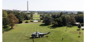"""President Donald Trump departs from the South Lawn of the White House on September 6.  With the issuance of the new National Cyber Strategy, the president promises his administration """"will act to further enable the Department of Homeland Security (DHS) to secure federal department and agency networks."""" Credit: Shealah Craighead"""