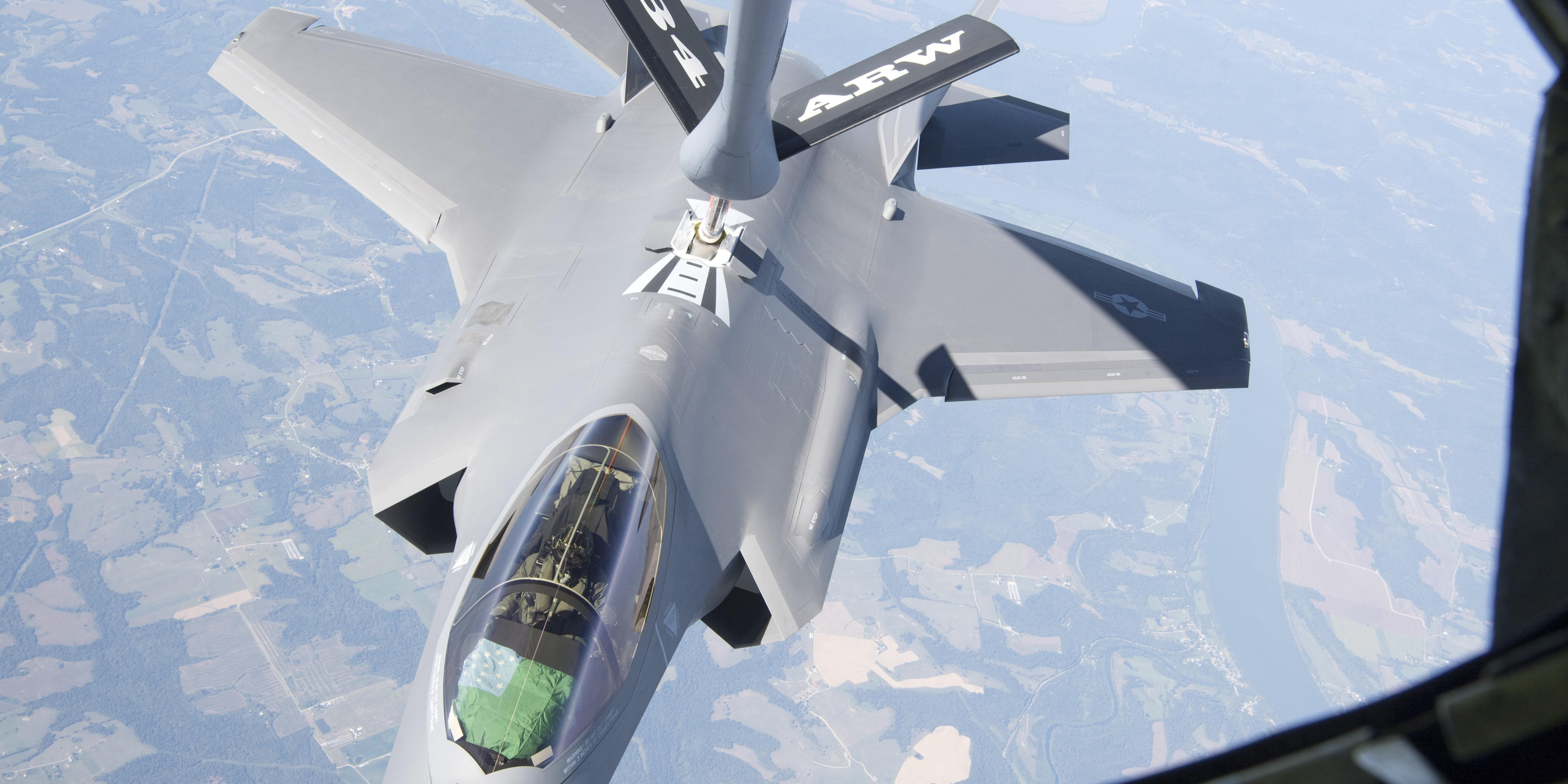 An F-35 Lightning II receives full from a KC-135 Stratotanker. The Army's communications exercises, which are being held in preparation of Project Convergence 21, are evaluating the ability of the different services to pass data from one to the other. The F-35, for example, may be used to pass information to ground forces as part of the Joint All-Domain Command and Control concept. Credit: U.S. Air Force photo/Master Sgt. Ben Mota