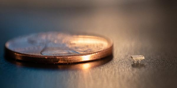 A micro-bristle-bot is shown next to a U.S. penny for size comparison. Credit: Allison Carter, Georgia Tech