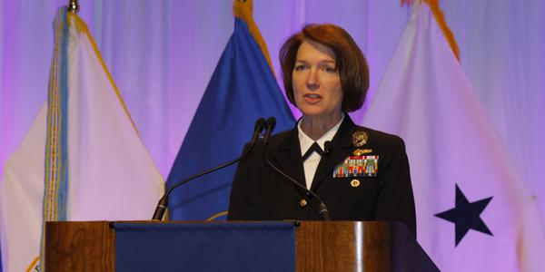 Vice Adm.Nancy A. Norton, DISA director and commander of the JFHQ-DODIN, addresses the audience at TechNet Cyber. Photo by Michael Carpenter