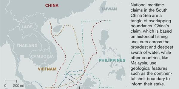 """China has a significant military presence in the South China Sea that is supported by """"unprecedented"""" levels of signals intelligence activity, says David Stupples, professor of electronic and radio systems, City, University of London. Graphic Credit: David Rosenberg, Middlebury College (www.southchinasea.org)."""