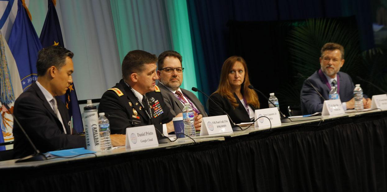 Panelists at the Defensive Cyber Operations Symposium discuss AI in the C2 domain.