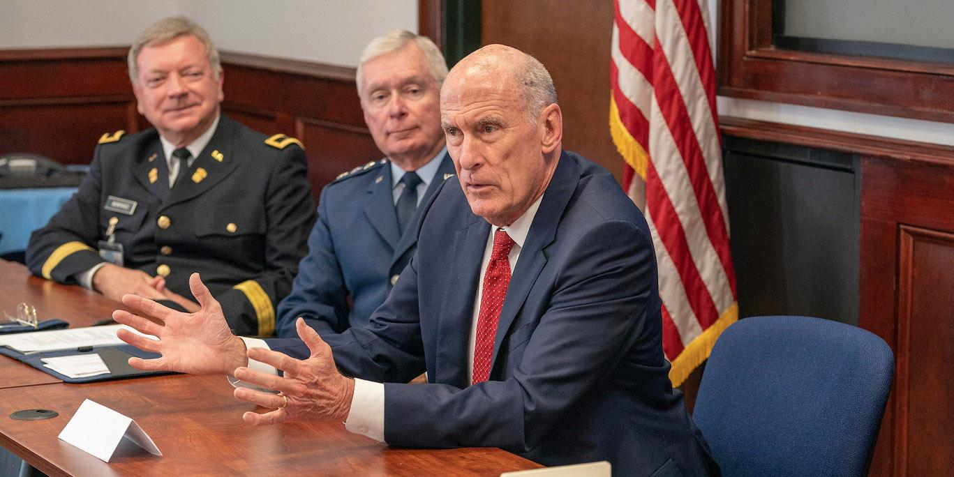 Director of National Intelligence Dan Coats discusses national security issues with other leaders during a visit to The Citadel in Charleston, South Carolina. The intelligence community is seeking advancing capabilities to help strengthen national security. Credit: Office of the Director of National Intelligence