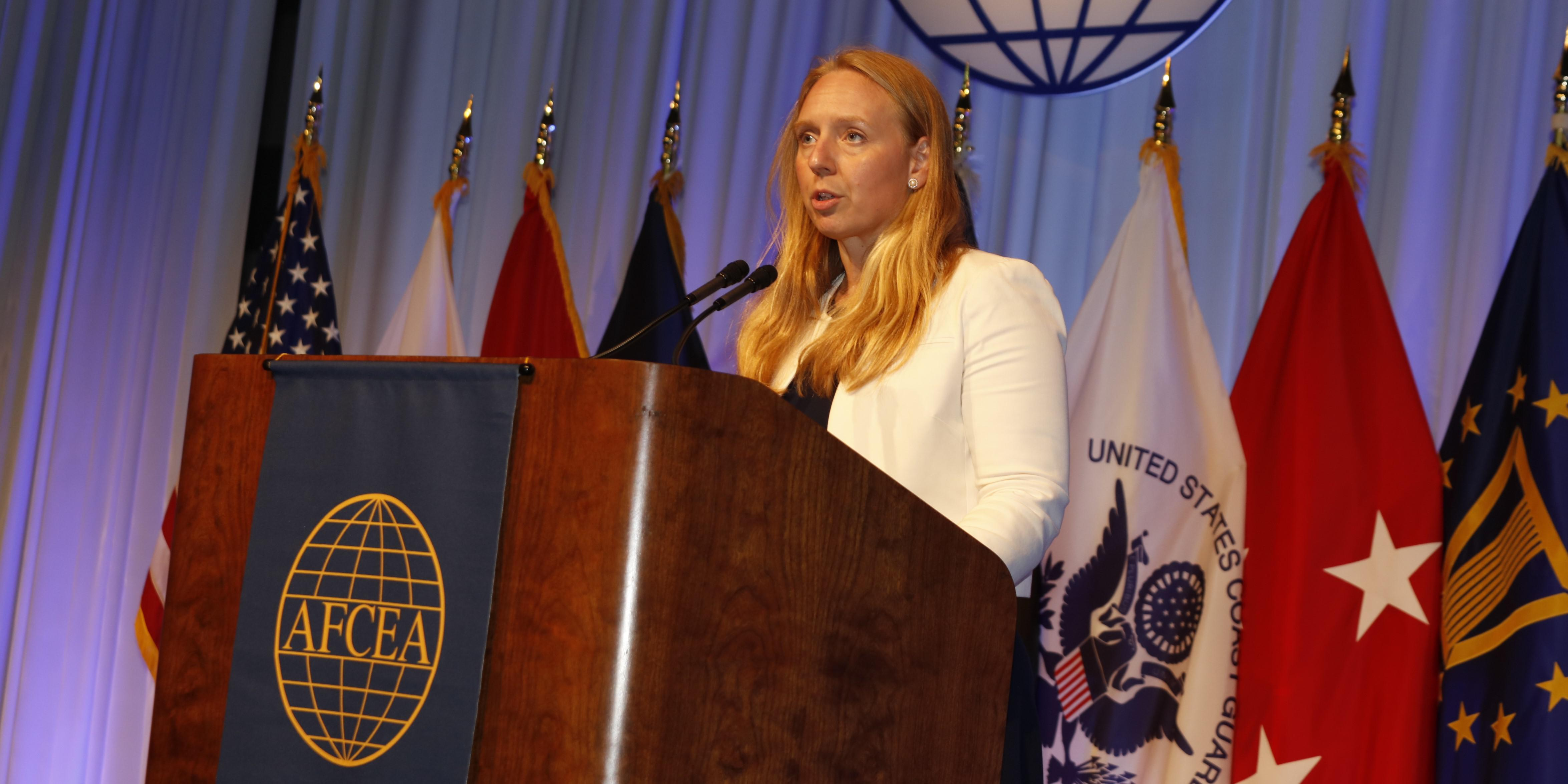 Kelly Fletcher, who is performing the duties of the DoD CIO, addresses attendees at TechNet Cyber 2021 in Baltimore. Photo by Michael Carpenter