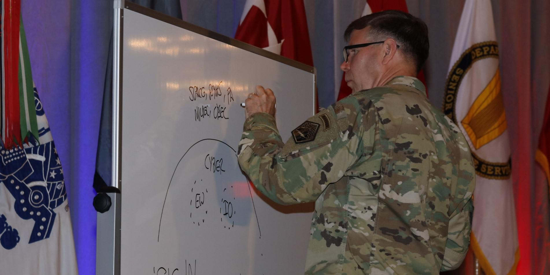 Lt. Gen. Stephen Fogarty, USA, commanding general, U.S. Cyber Command, sketches a graphic to detail his talk during AFCEA TechNet Augusta. Photo by Michael Carpenter