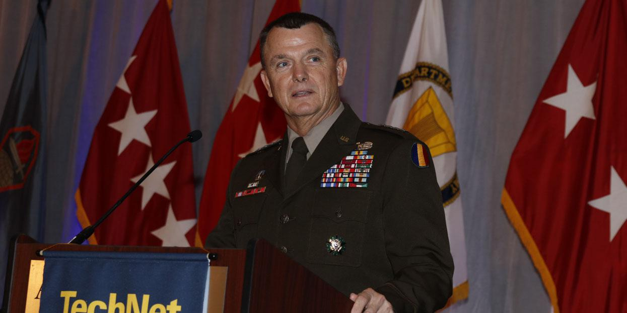 Gen. Paul Funk, USA, commander, U.S. Army Training and Doctrine Command, speaks at the AFCEA TechNet Augusta conference. Photo by Michael Carpenter