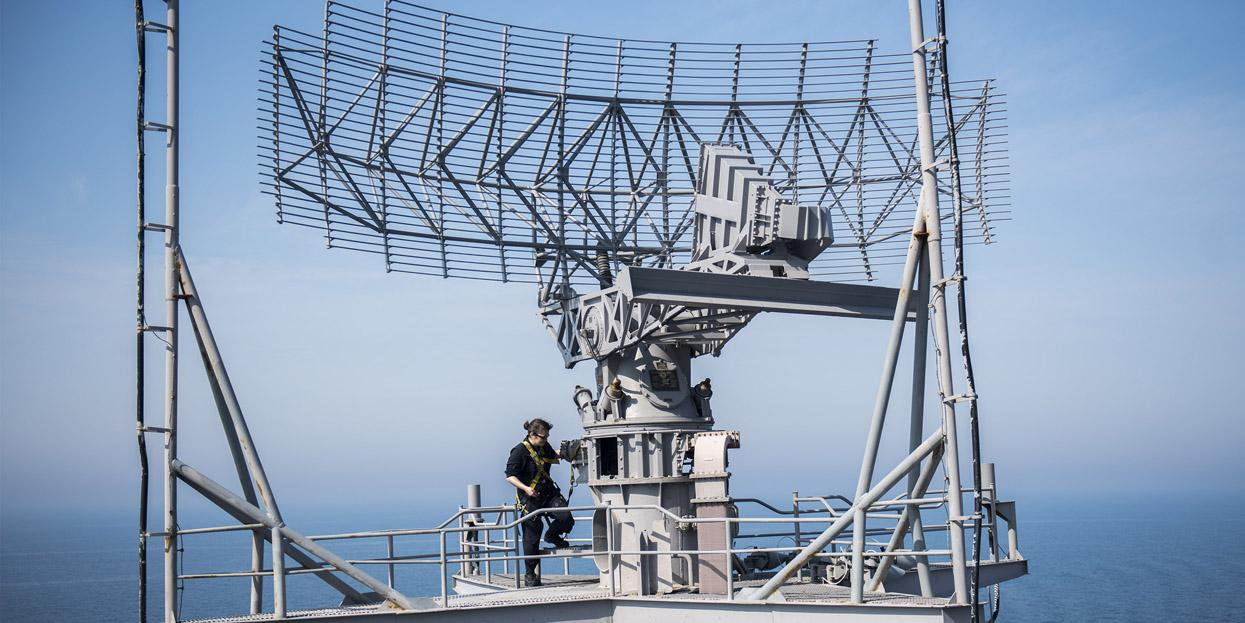 A Navy electronics technician conducts maintenance on a radar aboard aircraft carrier USS Harry S. Truman (CVN 75). The Navy has announced the first contract award under the Information Warfare Research Project. U.S. Navy photo by Mass Communication Specialist 3rd Class Justin R. Pacheco/Released