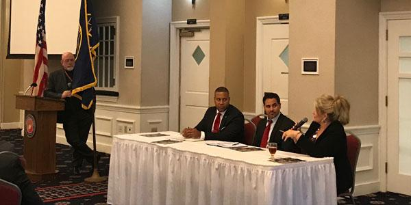 Cyber experts (l-r) Ray Letteer, Will Bush, Jean-Paul Bergeaux and Lisa Lee, discuss the risks of Internet of Things devices during AFCEA Quantico-Potomac's Annual Cyber Security Panel event on October 31 at Marine Corps Base Quantico.