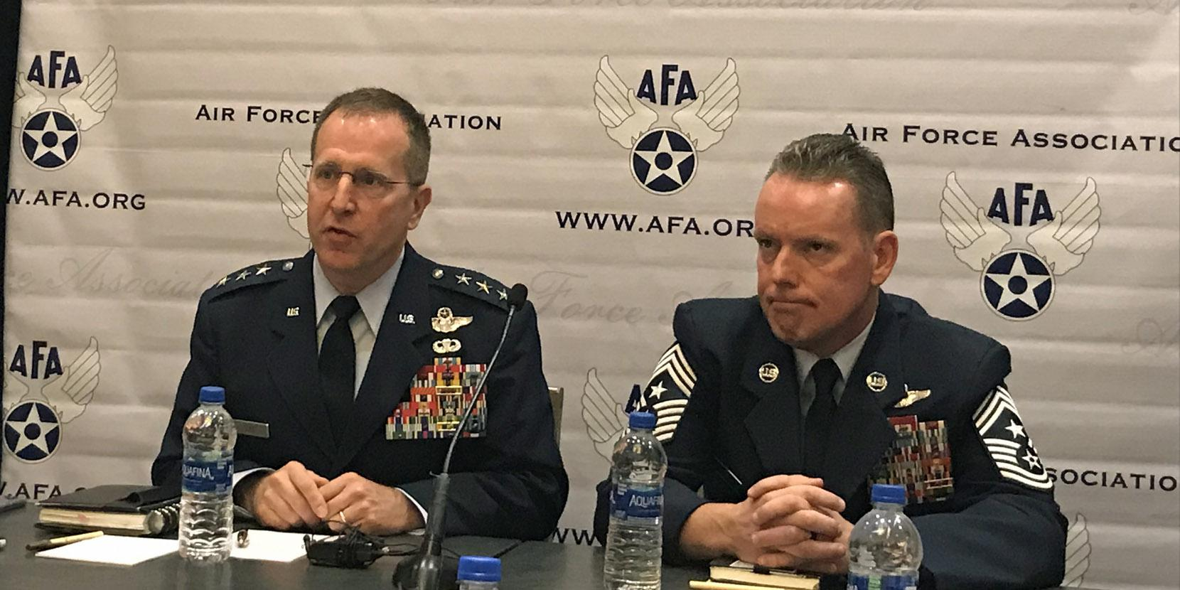 The Air Force Special Operations Command's (AFSOC's) development of a 60-kW laser weapon system is on track, says AFSOC's new commander, Lt. Gen. James Slife (l), at the Air Force Association's Air, Space and Cyber Conference yesterday.