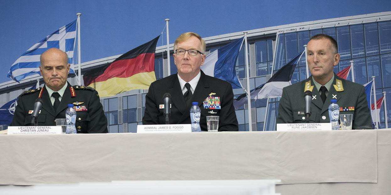 Last week, Canadian Forces Lt. Gen. Christian Juneau, deputy commander of the Allied Joint Force Command in Naples (l); Adm. James Foggo, USN, commander of the Allied Joint Force Command in Naples (c) ;and Lt. Gen. Rune Jakobsen, commander of the Norwegian Joint Headquarters in Bodo, Norway, outline plans for Trident Juncture, one of the largest joint defensive exercise that NATO has ever held.