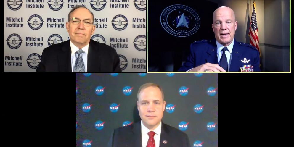 """U.S. Space Force Chief of Space Operations Gen. John """"Jay"""" Raymond and NASA Administrator Jim Bridenstine announce a new memorandum of understanding between the two organizations during a virtual event hosted by the Mitchell Institute."""