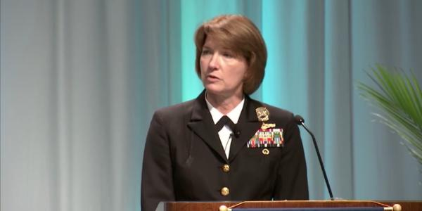 The cybersecurity problem is not going away for the military, warns retiring Vice Adm. Nancy Norton, USN, pictured at the AFCEA Defensive Cyber Operations Symposium in Baltimore in 2018.