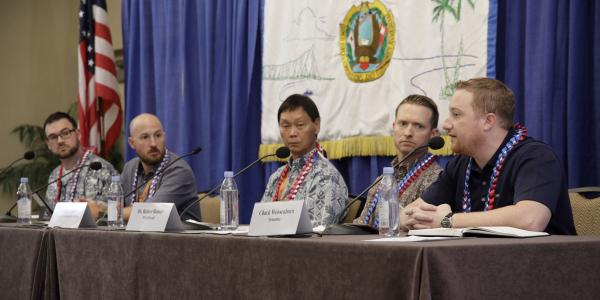 A Young AFCEAN-sponsored panel previewing the future of military data intelligence features (l-r) Brandon Lester, SRC Technologies; Mike Henry, The MITRE Corporation; Vincent Lee, Leeward Community College; Robert J. Runser; NSA Hawaii; and Chuck Weissenborn, Symantec. Credit: Bob Goodwin Photography
