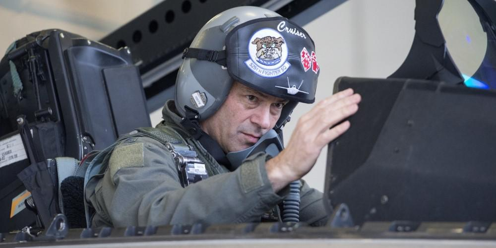 Air Force Lt. Gen. Ken Wilsbach performs preflight procedures in his F-22 Raptor before his final flight as commander of the Alaskan Command, Alaskan North American Aerospace Defense Region and Eleventh Air Force, at Joint Base Elmendorf-Richardson, Alaska, in August 2018. Gen. Wilsbach takes the helm as commander of the Pacific Air Forces, succeeding Gen. Charles Brown, who is moving to be the next chief of the Air Force. Credit: U.S. Air Force photo by Alejandro Peña