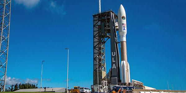 The Space and Missile Systems Center's fifth Advanced Extreme High Frequency satellite, AEHF-5, in the faring of United Launch Alliance's Atlas V vehicle, launches last August at Cape Canaveral Air Force Station. The center has moved control of the satellite to the new Space Operations Command. Credit: SMC