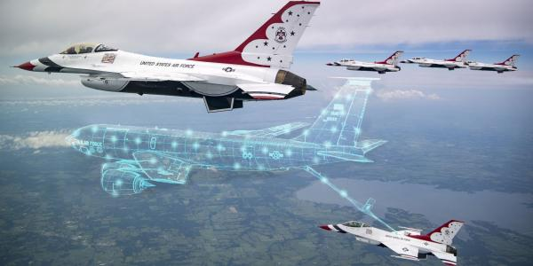 A new augmented reality platform will help pilots train in the air with digital assets.  Design by SIGNAL Art Director of DOD photo by Tech. Sgt. Ned Johnston, Air Force Thunderbirds