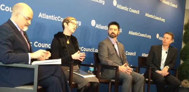 From left to right, Jason Healey, Suzanne Schwartz, Joshua Corman and Pat Calhoun discuss the impact of lack cybersecurity on the Internet of Things and health care.