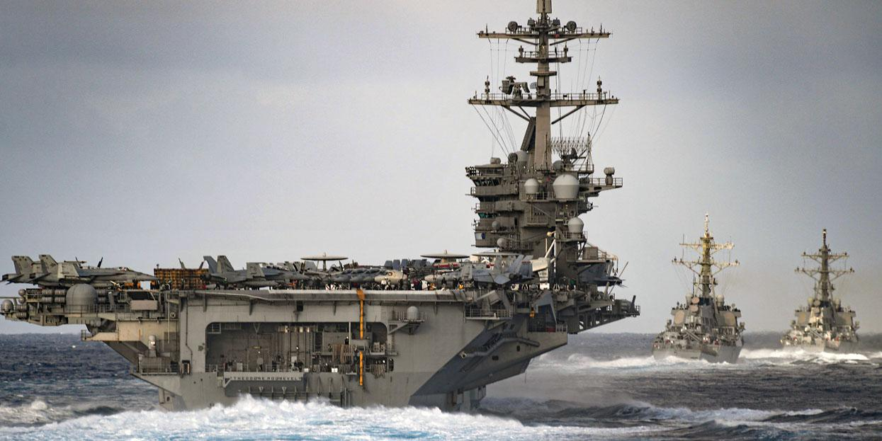The aircraft carrier USS Theodore Roosevelt transits the Pacific Ocean with the USS Russell and the USS Paul Hamilton. The U.S. Navy is facing several challenges as it strives to modernize its information technology across the breadth of its sea and land assets.  U.S. Navy photo