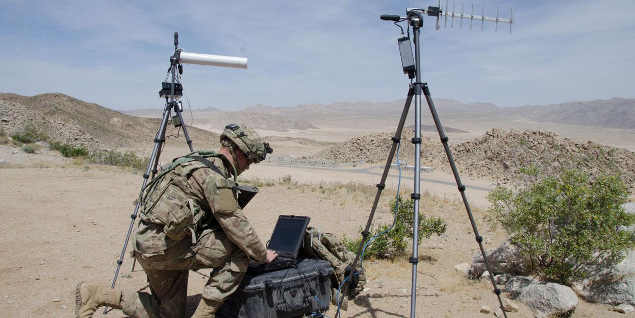 A soldier with the U.S. Army's 780th Military Intelligence Brigade sets up deployable cyber tools at the National Training Center in Fort Irwin, California. The Army's Chief Information Officer (CIO)/G-6 office is working to bring operations, intelligence and policy making closer together in its cybersecurity efforts. Credit: U.S. Cyber Command