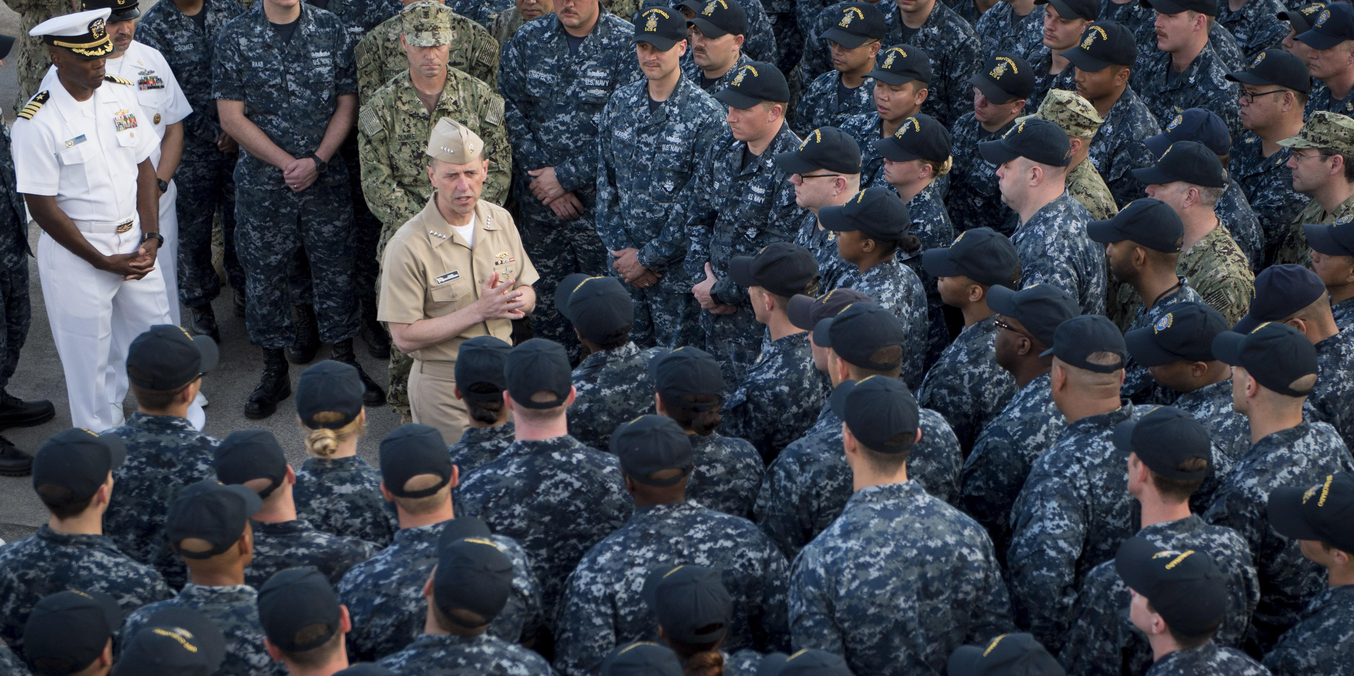 Chief of Naval Operations Adm. John Richardson, USN, holds an all-hands call aboard the littoral combat ship USS Coronado as the ship is moored in Singapore on Tuesday. Photo by Petty Officer 1st Class Nathan Laird, USN