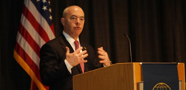 Deputy Secretary of the Department of Homeland Security Alejandro Mayorkas speaks at the Homeland Security Conference in Washington, D.C., in March. Photography by Michael Carpenter