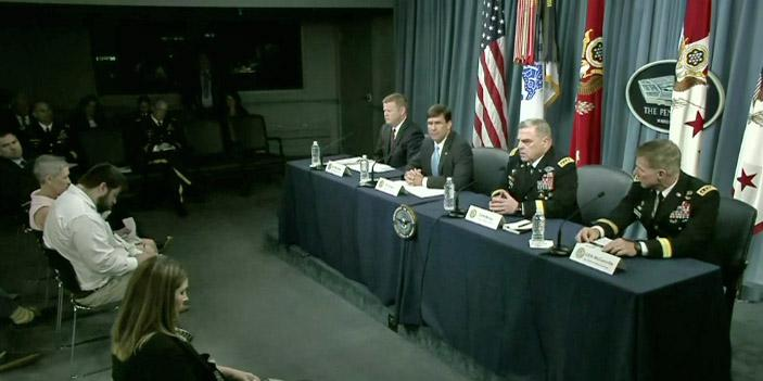 From left, Army Undersecretary Ryan D. McCarthy, Army Secretary Mark Esper, Army Chief of Staff Gen. Mark A. Milley and Army Vice Chief of Staff Gen. James McConville hold a briefing about the Army's new Futures Command on July 13 at the Pentagon.