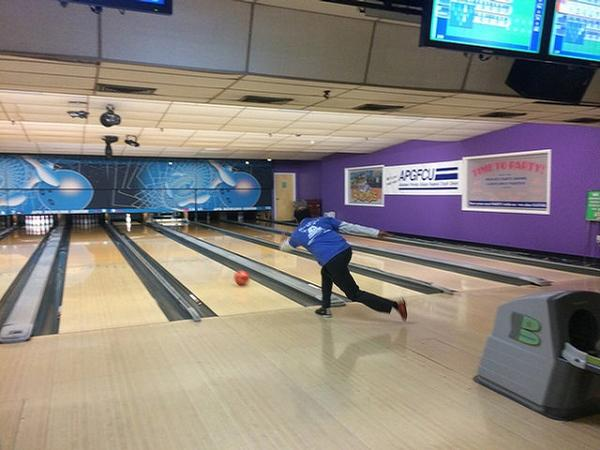 A participant in the March Bowling Bash tries to pick up a spare. All event proceeds were donated to The Boys and Girls Clubs of Harford and Cecil Counties in Maryland