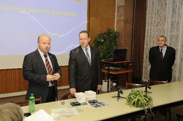 Petr Jirasek (l), regional vice president for Central Eastern European and Baltic regions, Frantisek Hrebik, vice rector, Police Academy of the Czech Republic (c) and Josef Pozar, dean, Police Academy of the Czech Republic, present at the chapter meeting in October.
